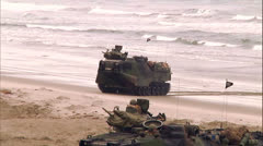 Amphibious Vehicles On Beach 06 Stock Footage