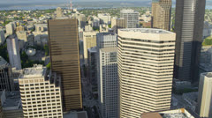 Aerial view Downtown Seattle Business and Finance Center, USA Stock Footage