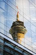 Germany, North Rhine Westphalia, Dusseldorf, Reflection of the television tower - stock photo