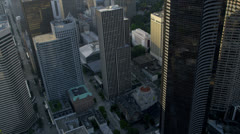 Aerial view office skyscrapers Pacific west coast, Seattle, USA Stock Footage