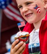 fourth of july cupcake - stock photo