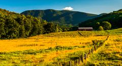 farm and view of the appalachians in the shenandoah valley, virginia. - stock photo