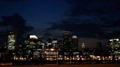 Boston Skyline night Stock Footage