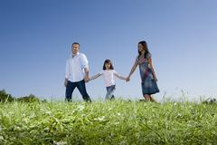 Stock Photo of Parents and daughter (6-7) taking a walk across meadow
