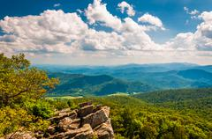 view of the blue ridge mountains from north marshall in shenandoah national p - stock photo