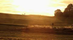 Sihouette on Horizon during Beautiful Golden Sunset HD Stock Footage