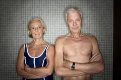Senior couple in changing room Stock Photos