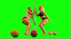 pole dance sexy dancer woman dancing rhythmic athletic sensuality green screen - stock footage