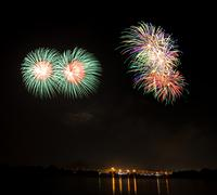 Stock Photo of double green fireworks at lake on king birthday festival and holiday in thail
