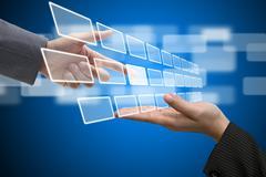 Virtual technology touch screen interface Stock Photos
