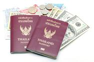Stock Photo of passport and money