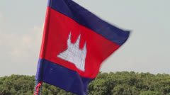 Cambodia flag flying on boat .mp4 Stock Footage
