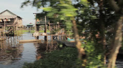 Cambodia river view thru trees.mp4 Stock Footage