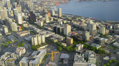 Aerial city view Space Needle observation tower, Seattle, USA Stock Footage