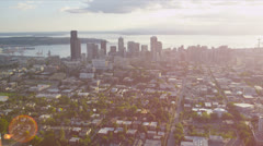 Aerial Cityscape view across Puget Sound, Seattle, USA Stock Footage