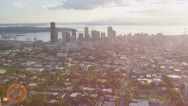 Stock Video Footage of Aerial Cityscape view across Puget Sound, Seattle, USA