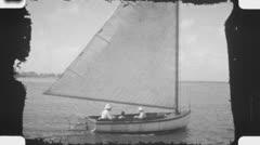 Sailing. (Vintage 1930's 16mm film footage). Stock Footage