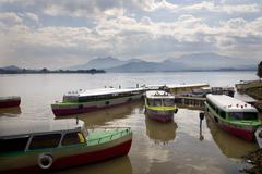 Taxi boat janitizo island patzcuaro lake mexico Stock Photos