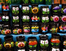 Colorful souvenir cups mexico Stock Photos