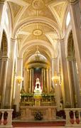 Cathedral interior altar cross arches morelia mexico Stock Photos