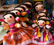 Stock Photo of colorful lupita dolls mexico