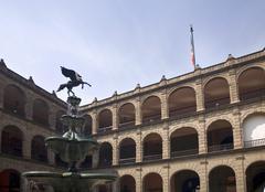 Fountain in president's palace, zocalo, mexico city Stock Photos