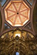 Pink dome golden altar santa clara church convent queretaro mexico Stock Photos