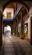Stock Photo of entrance arch courtyard mexico