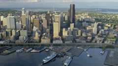 Aerial view Seattle city and Columbia Center, USA Stock Footage