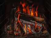 Stock Photo of fireplace with wood and fire