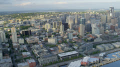 Aerial coastal view Downtown Seattle Business Center Stock Footage