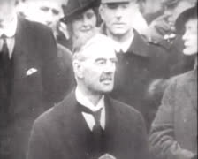 Chamberlain Hitler Speech 01 Stock Footage