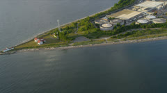 Aerial view West Point Lighthouse and Treatment Plant, Seattle Stock Footage
