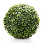 sphere from green artificial grass isolated on white background - stock photo