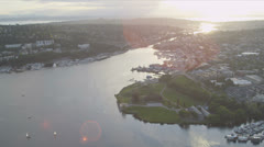 Aerial view Gas Works Park Lake Union, Seattle Stock Footage