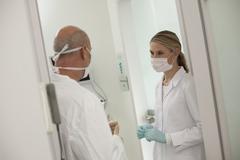 Germany, Bavaria, Landsberg, Dentist and Female Dentist Assistant Stock Photos