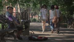 Park Saxophone Player Stock Footage