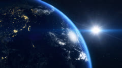 Planet earth with city lights - stock footage