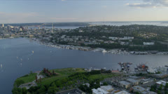 Aerial view Seattle City nr Lake Union, Seattle, USA Stock Footage