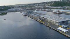 Aerial view Smith Cove Piers 90 and 91, Seattle, USA Stock Footage