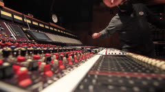 Engineer writing on console tape in Recording Studio - Ew 07 Stock Footage
