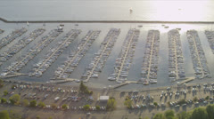 Aerial view of Boat Marina, Salmon Bay, Seattle, USA Stock Footage