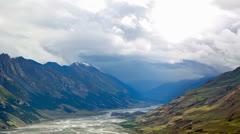 Clouds Valley Inylchek. Kirgystan, central Tien Shan, the river Inylchek Stock Footage