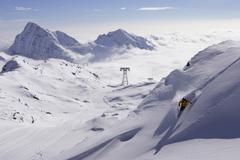 italy, gressoney, skiier - stock photo