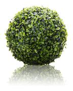 Green sphere from artificial grass with reflection isolated on white backgrou Stock Photos