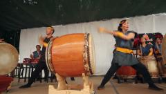 Taiko Drummers from Front Stock Footage