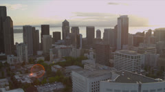 Aerial downtown view of Seattle Business and Finance Center Stock Footage