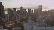 Stock Video Footage of Aerial downtown view of Seattle Business and Finance Center