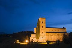 Italy, Tuscany, Sant'Antimo abbey church at night Stock Photos