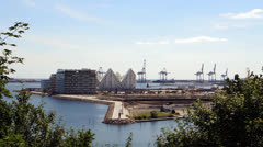 Aarhus harbor seen from forest Stock Footage